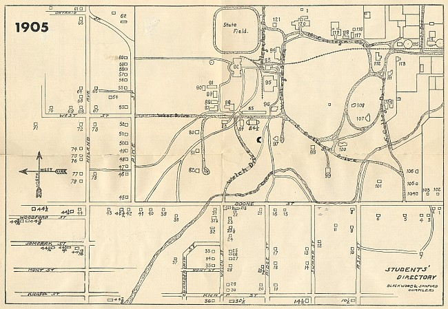 1905 Campustown street names - click to enlarge