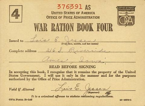 World War II Rationing on the U S  Homefront   Ames Historical Society